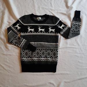 3/$20 Old Navy reindeer black white sweater winter